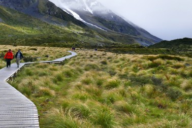 Valley landscape with two people walking on a boardwalk through tussock grass