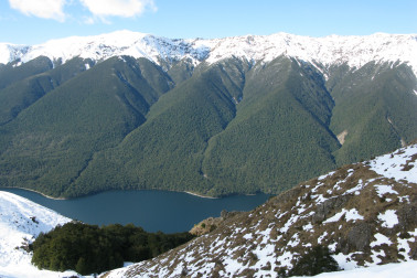 View of the snow-tipped Saint Arnaud Range within Nelson Lakes Natonal Park