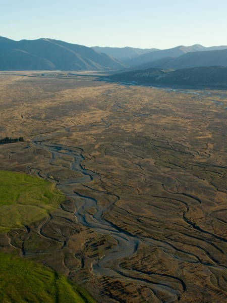 Aerial view of Mackenzie Country showing irrigated farmland