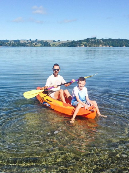 Toby Whyte with his son Harvey at Mahurangi North of Auckland