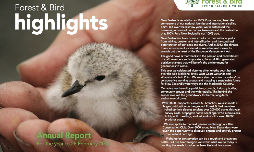 Forest & Bird Annual Report 2013 | Forest and Bird