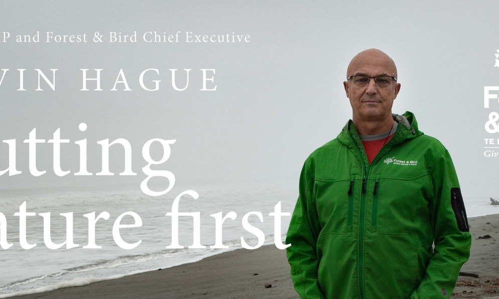 Banner image of Kevin Hague standing on a beach, Putting Nature first roadshow