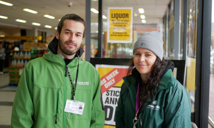 Two Forest & Bird fundraisers outside PaknSave