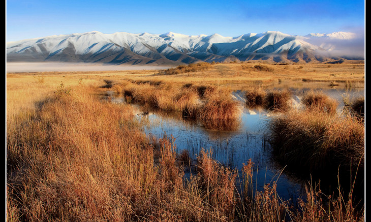 View of the grasslands and mountains of the Mackenzie Country