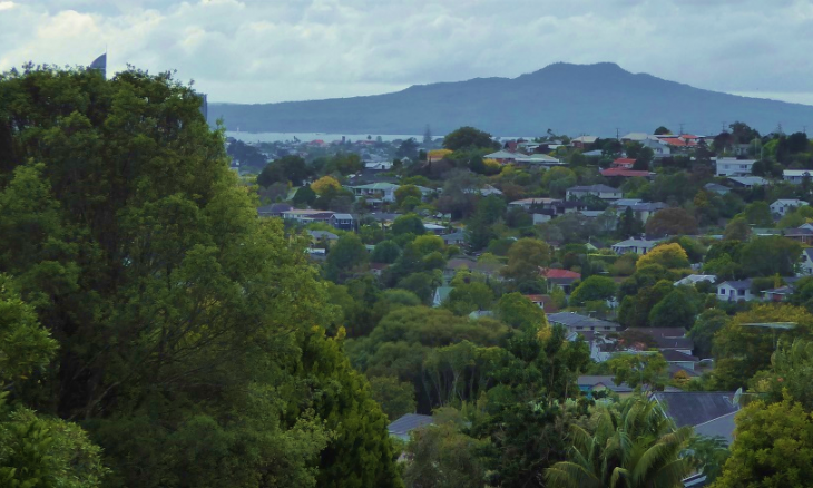 View of the North Shore and Rangitoto Island in the distance