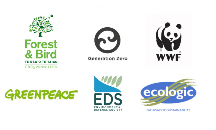 Our logo along with Generation Zero, WWF, Greenpeace, Environmental Defence Society and Ecologic