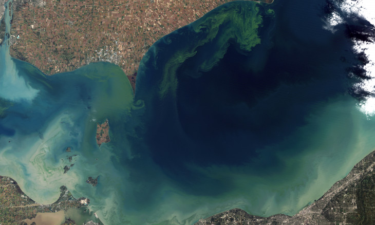 Algal blooms surround Lake Erie (Canada and USA) - image from space