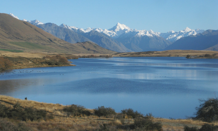 Lake Clearwater with Southern Alps behind