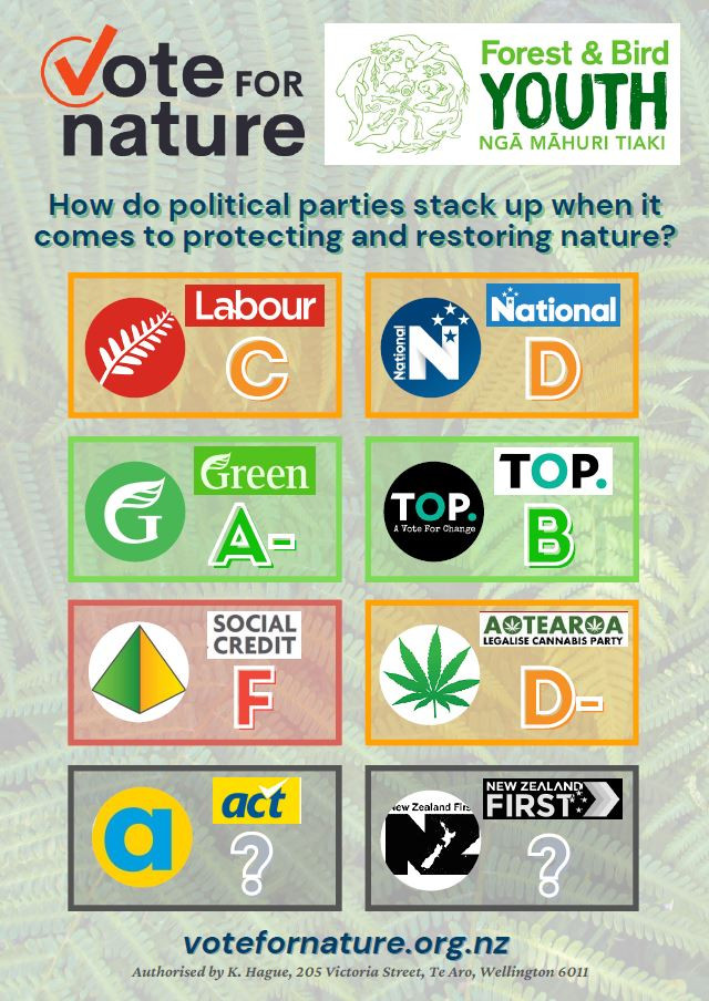 A voter scorecard for environment issues: Labour C, National D, Green party A-, TOP B