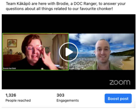 Team Kākāpō manager Bonnie on a Zoom call with a DOC ranger, 1326 people reached on Facebook